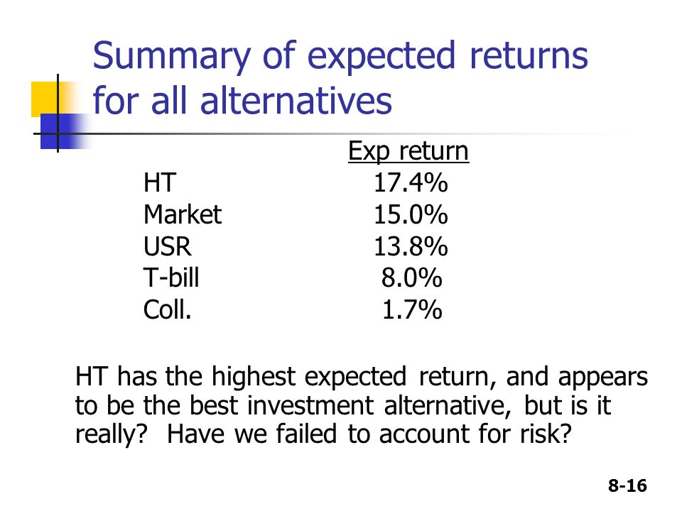 8-16 Summary of expected returns for all alternatives Exp return HT 17.4% Market 15.0% USR 13.8% T-bill 8.0% Coll.