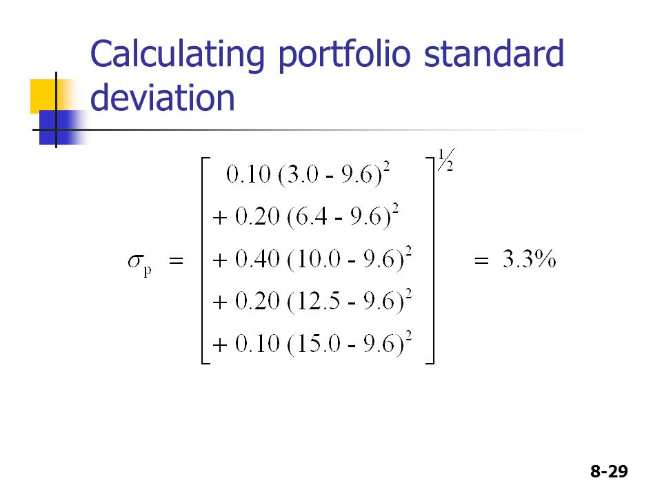 8-29 Calculating portfolio standard deviation