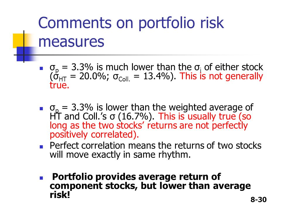 8-30 Comments on portfolio risk measures σ p = 3.3% is much lower than the σ i of either stock (σ HT = 20.0%; σ Coll.