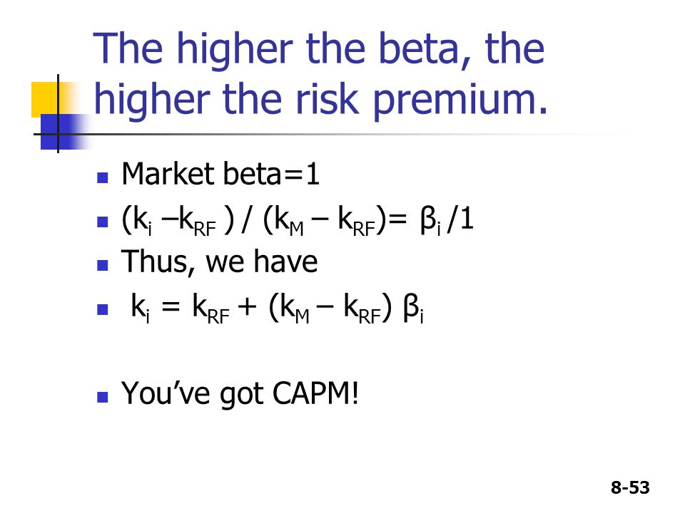 8-53 The higher the beta, the higher the risk premium. Market beta=1 (k i –k RF ) / (k M – k RF )= β i /1 Thus, we have k i = k RF + (k M – k RF ) β i