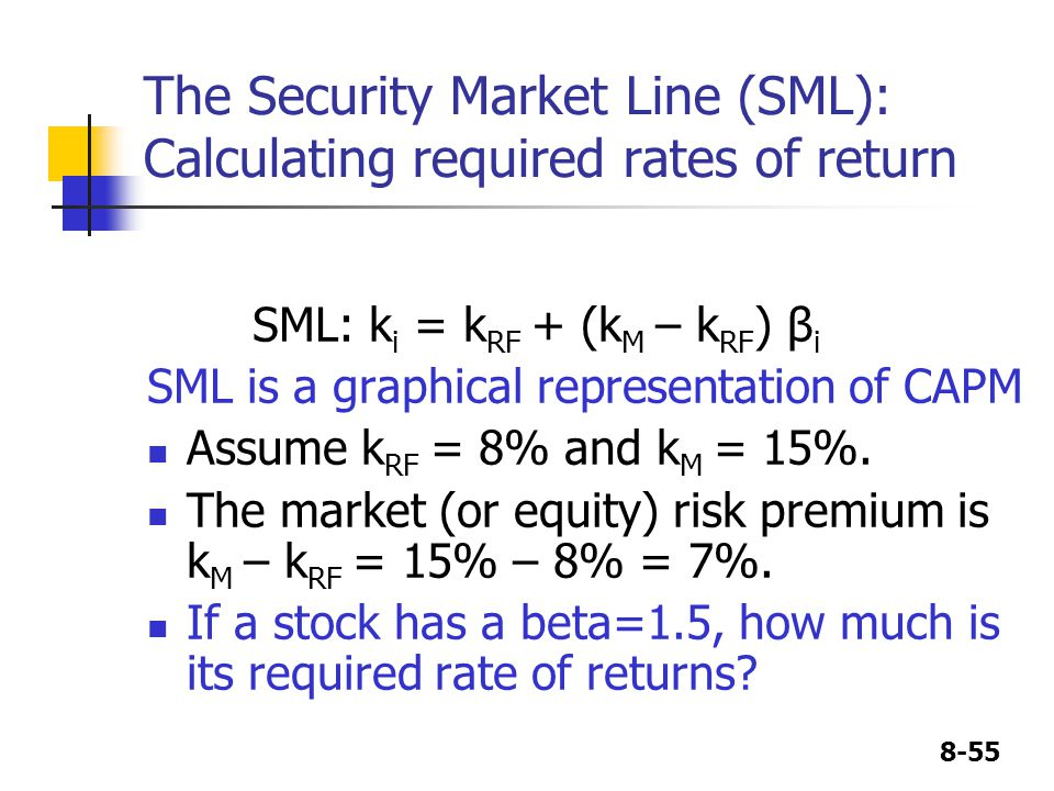 8-55 The Security Market Line (SML): Calculating required rates of return SML: k i = k RF + (k M – k RF ) β i SML is a graphical representation of CAPM Assume k RF = 8% and k M = 15%.