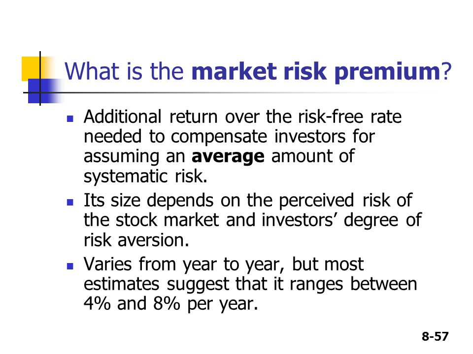 8-57 What is the market risk premium.