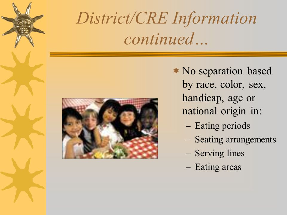 District/CRE Information continued…  Public Release –Letter to parents, application form, income guidelines –Copy on file  Foreign language translat