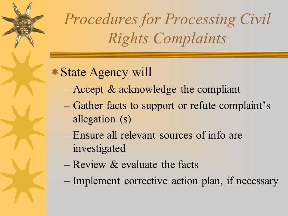 District/CRE Information  All discrimination complaints written or verbal must be reported to TDA F&N division