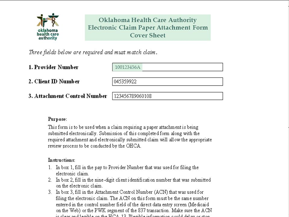 Oklahoma Health Care Authority Electronic Claim Paper Attachment Form Cover Sheet 100123456A
