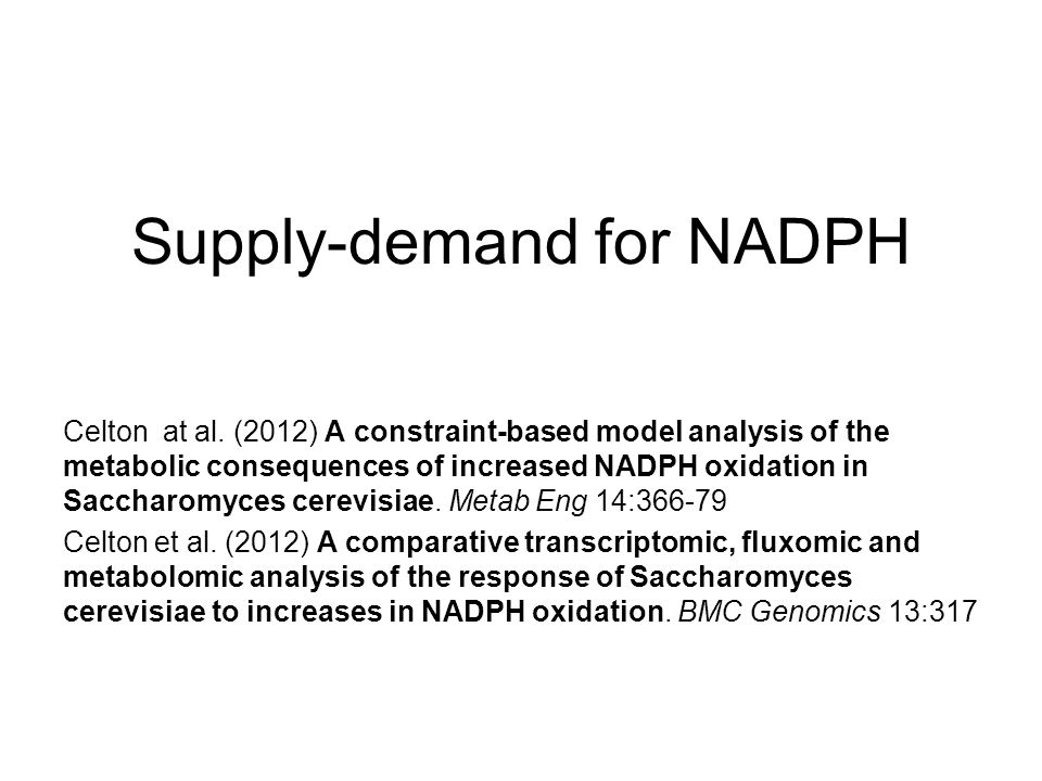 Supply-demand for NADPH Celton at al. (2012) A constraint-based model analysis of the metabolic consequences of increased NADPH oxidation in Saccharom