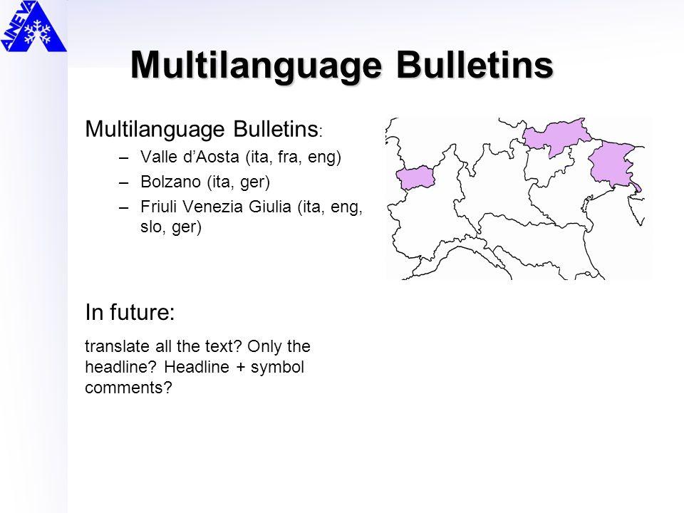 Multilanguage Bulletins Multilanguage Bulletins : –Valle d'Aosta (ita, fra, eng) –Bolzano (ita, ger) –Friuli Venezia Giulia (ita, eng, slo, ger) In fu