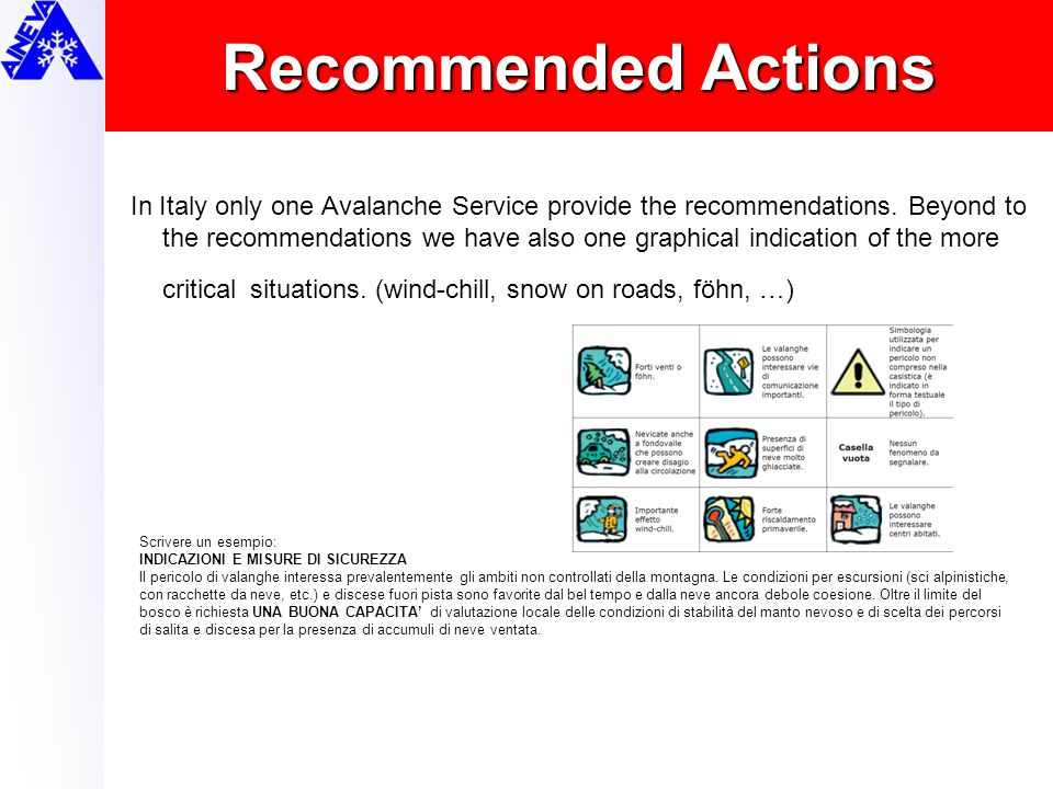 Recommended Actions In Italy only one Avalanche Service provide the recommendations. Beyond to the recommendations we have also one graphical indicati