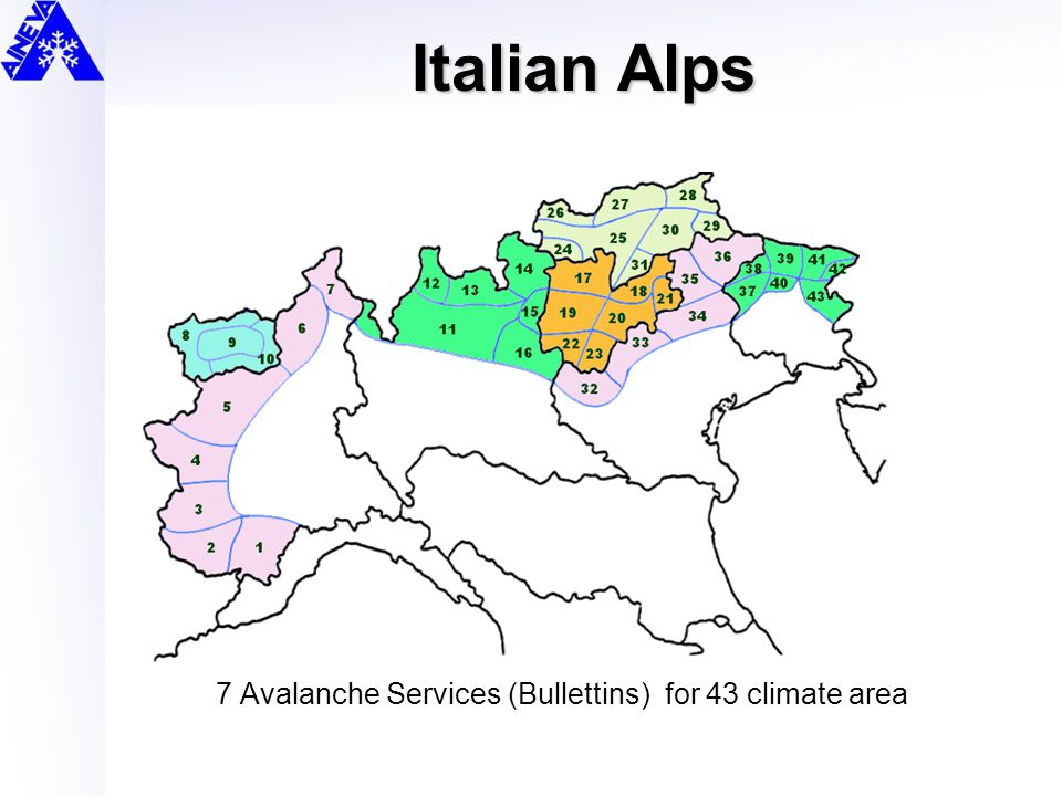 Italian Alps 7 Avalanche Services (Bullettins) for 43 climate area