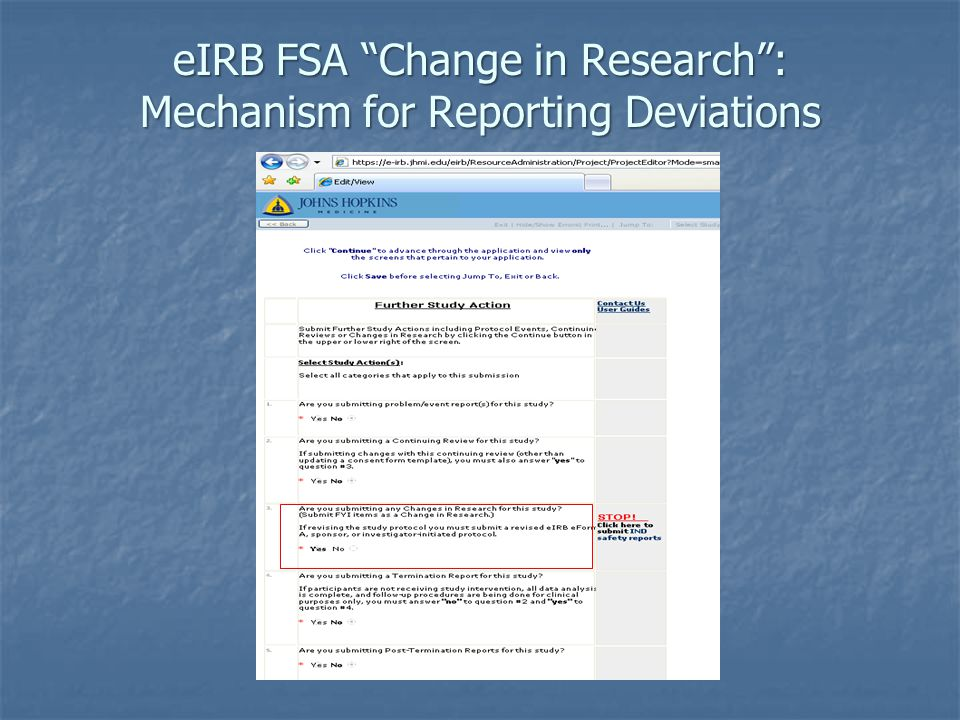 eIRB FSA Change in Research : Mechanism for Reporting Deviations