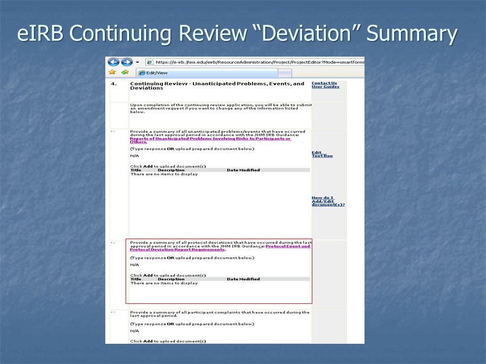 eIRB Continuing Review Deviation Summary