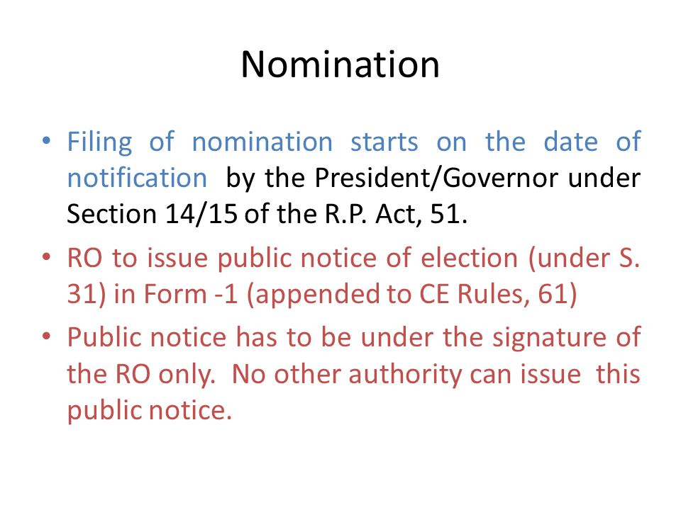 Nomination of candidates By - K.F. Wilfred, Pr. Secy. And Ashish Chakraborty, Secy.