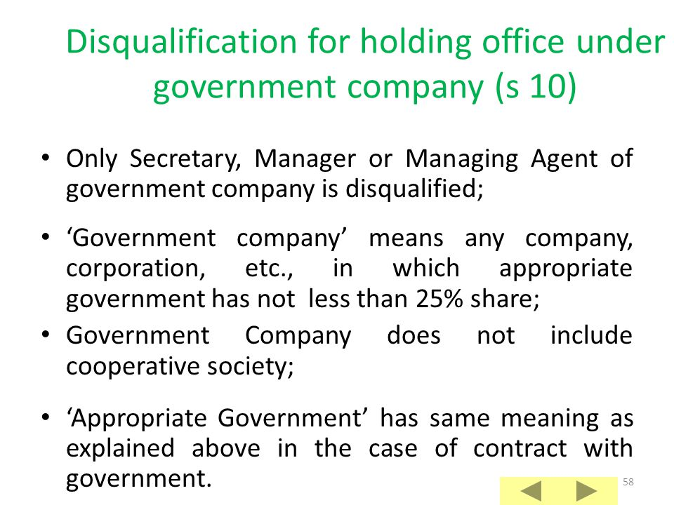 57 Disqualification for contract with appropriate government (s 9A) Contract should be subsisting on the date of scrutiny of nominations; Contract sho