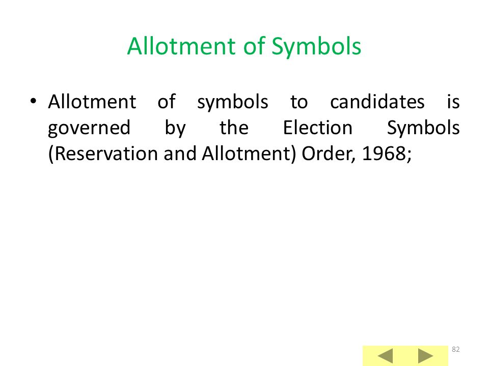 81 Allotment of Symbols to Contesting Candidates