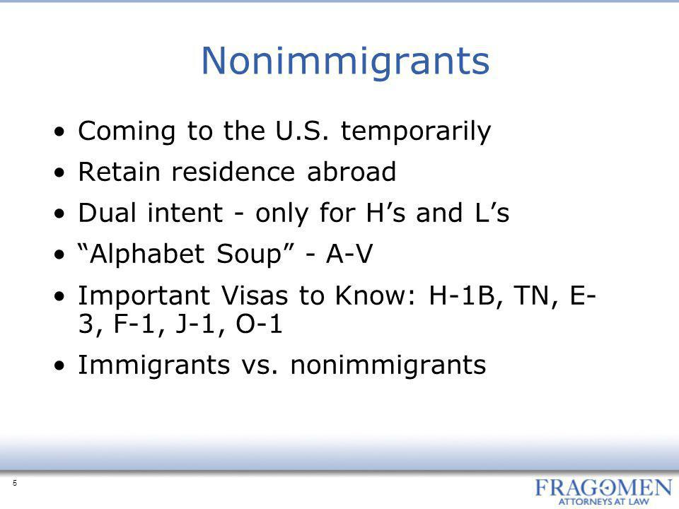 5 Nonimmigrants Coming to the U.S.