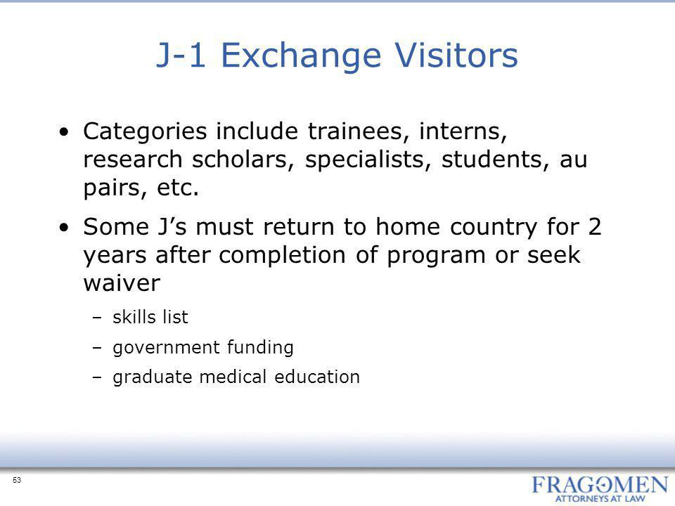 53 J-1 Exchange Visitors Categories include trainees, interns, research scholars, specialists, students, au pairs, etc. Some J's must return to home c