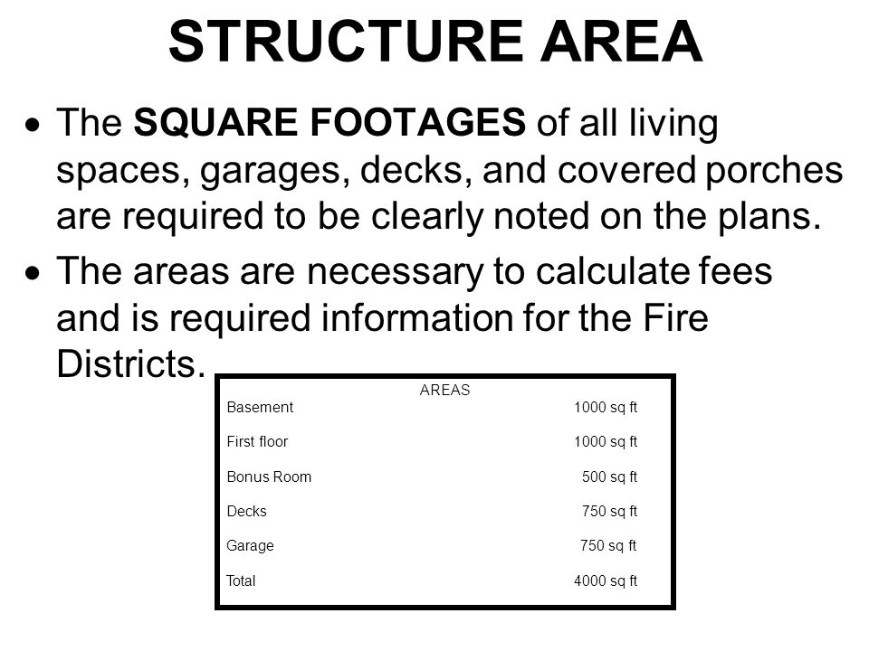 STRUCTURE AREA  The SQUARE FOOTAGES of all living spaces, garages, decks, and covered porches are required to be clearly noted on the plans.  The ar
