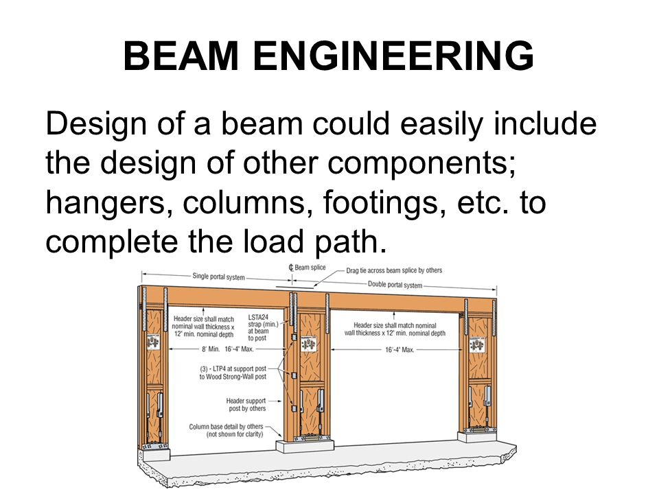Design of a beam could easily include the design of other components; hangers, columns, footings, etc. to complete the load path. BEAM ENGINEERING