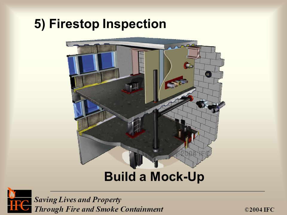 Saving Lives and Property Through Fire and Smoke Containment ©2004 IFC Build a Mock-Up 5) Firestop Inspection