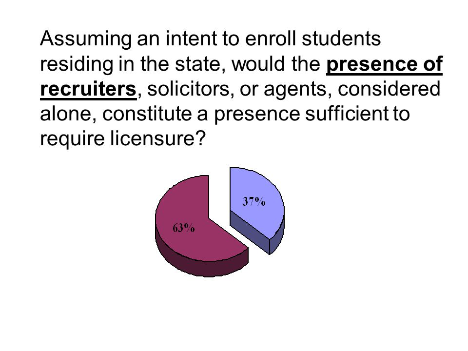 Assuming an intent to enroll students residing in the state, would the presence of recruiters, solicitors, or agents, considered alone, constitute a p
