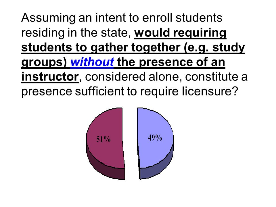 Assuming an intent to enroll students residing in the state, would requiring students to gather together (e.g. study groups) without the presence of a