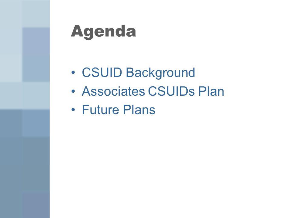 Agenda CSUID Background Associates CSUIDs Plan Future Plans