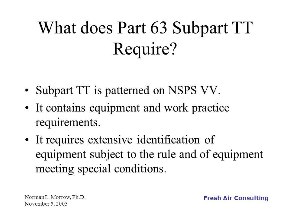 Fresh Air Consulting Norman L. Morrow, Ph.D. November 5, 2003 What does Part 63 Subpart TT Require? Subpart TT is patterned on NSPS VV. It contains eq