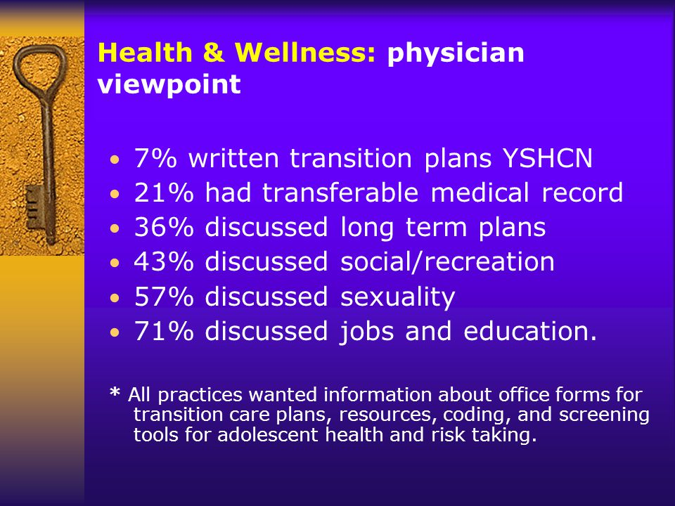 Health & Wellness: physician viewpoint 7% written transition plans YSHCN 21% had transferable medical record 36% discussed long term plans 43% discussed social/recreation 57% discussed sexuality 71% discussed jobs and education.
