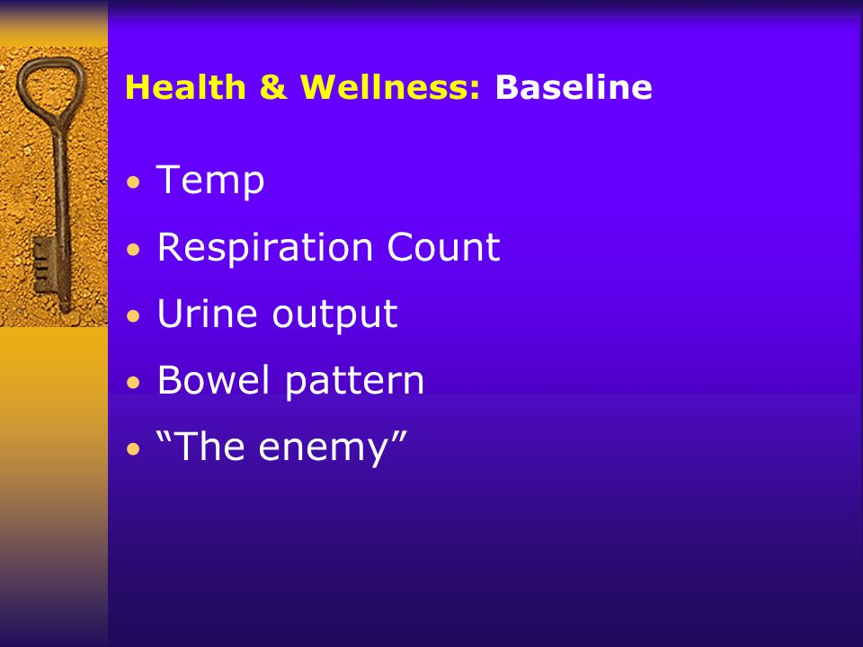Health & Wellness: Baseline Temp Respiration Count Urine output Bowel pattern The enemy