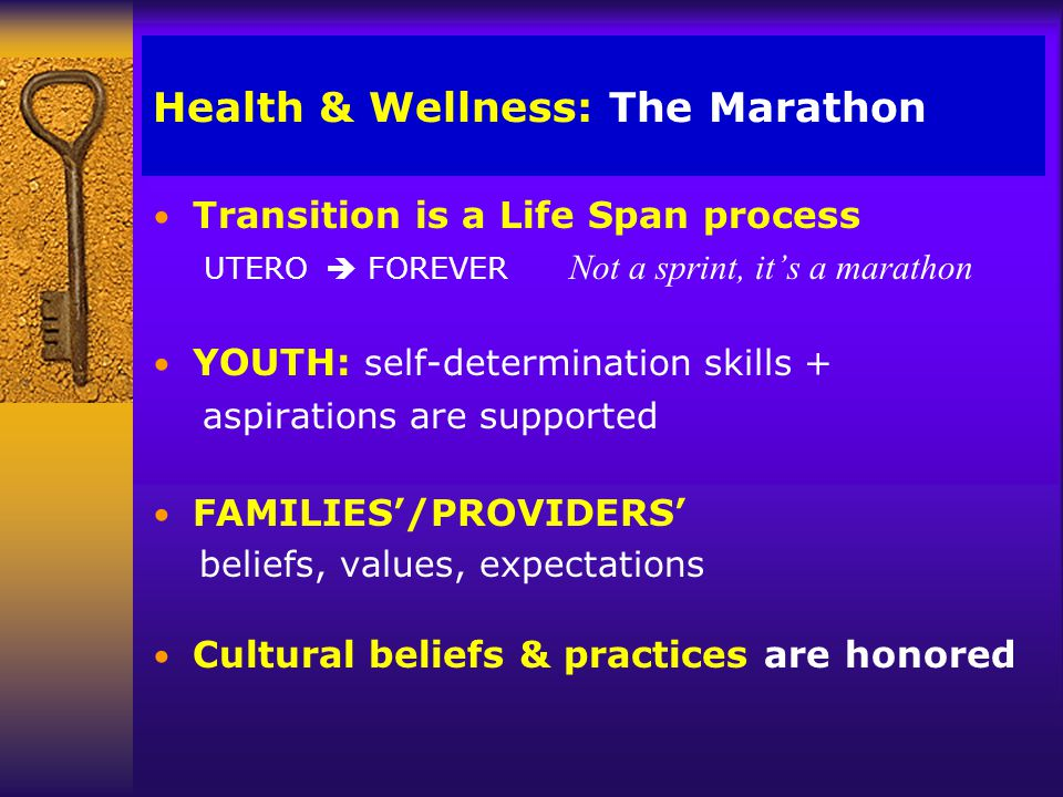 Health & Wellness: Transitions n Adult body n Mature (abstract) cognitive style n Separate from family/leave family home n Sustained peer relationships n Intimate relationships n Increasing autonomy….Interdependence n Define a productive adult role