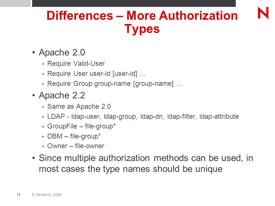© Novell Inc, 2006 13 Differences – More Authorization Types Apache 2.0 Require Valid-User Require User user-id [user-id] … Require Group group-name [