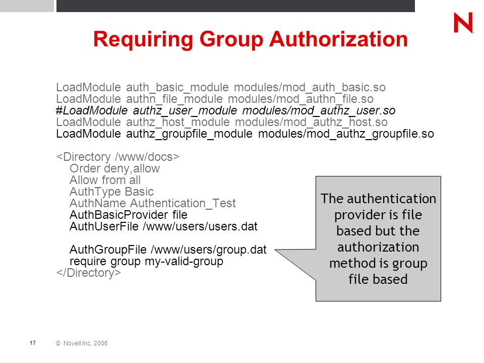 © Novell Inc, 2006 17 Requiring Group Authorization LoadModule auth_basic_module modules/mod_auth_basic.so LoadModule authn_file_module modules/mod_au