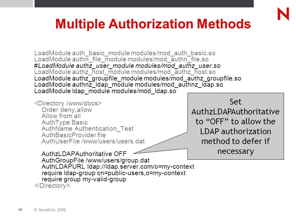 © Novell Inc, 2006 19 Multiple Authorization Methods LoadModule auth_basic_module modules/mod_auth_basic.so LoadModule authn_file_module modules/mod_a