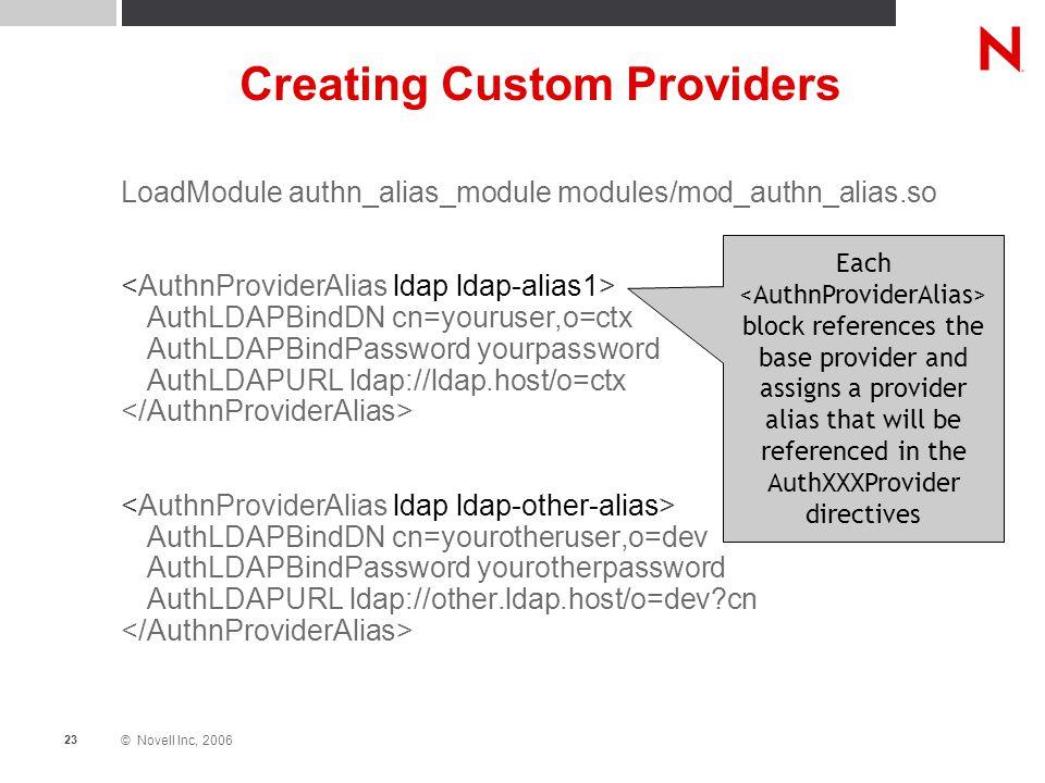 © Novell Inc, 2006 23 Creating Custom Providers LoadModule authn_alias_module modules/mod_authn_alias.so AuthLDAPBindDN cn=youruser,o=ctx AuthLDAPBind