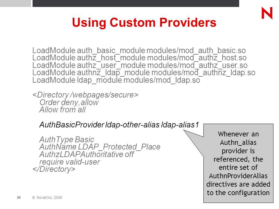 © Novell Inc, 2006 24 Using Custom Providers LoadModule auth_basic_module modules/mod_auth_basic.so LoadModule authz_host_module modules/mod_authz_hos
