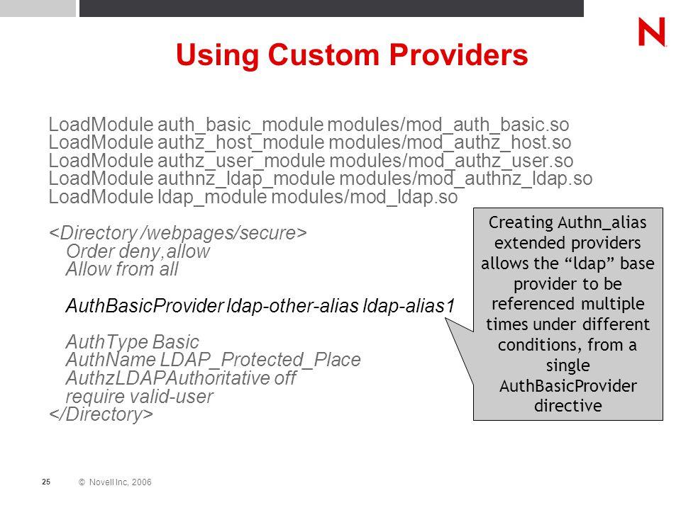 © Novell Inc, 2006 25 Using Custom Providers LoadModule auth_basic_module modules/mod_auth_basic.so LoadModule authz_host_module modules/mod_authz_hos