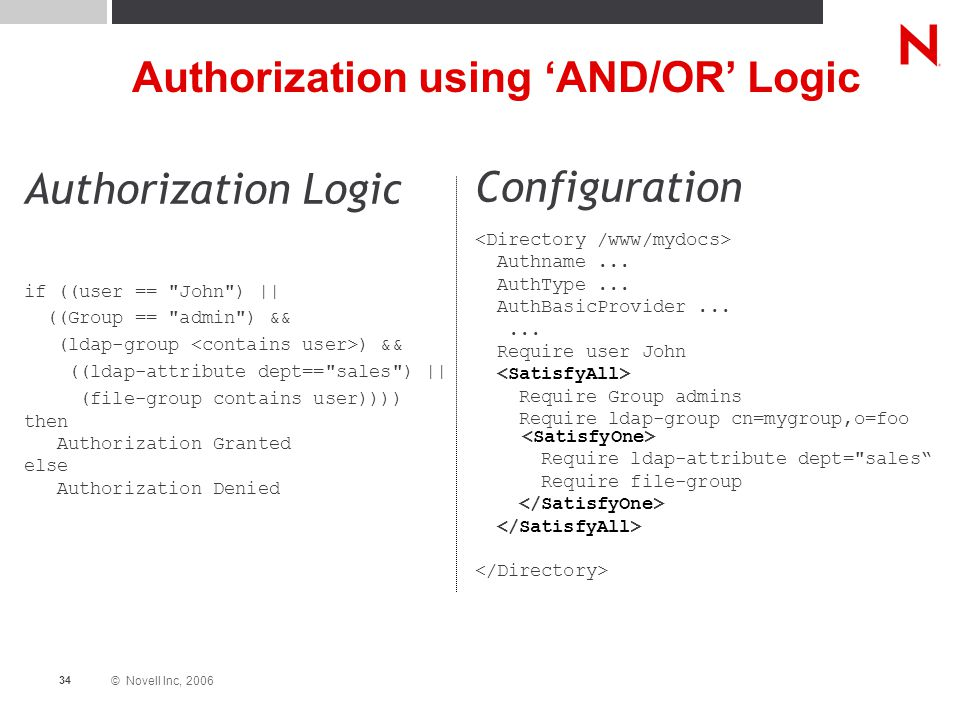© Novell Inc, 2006 34 Authorization using 'AND/OR' Logic Authorization Logic if ((user == John ) || ((Group == admin ) && (ldap-group ) && ((ldap-attribute dept== sales ) || (file-group contains user)))) then Authorization Granted else Authorization Denied Configuration Authname...