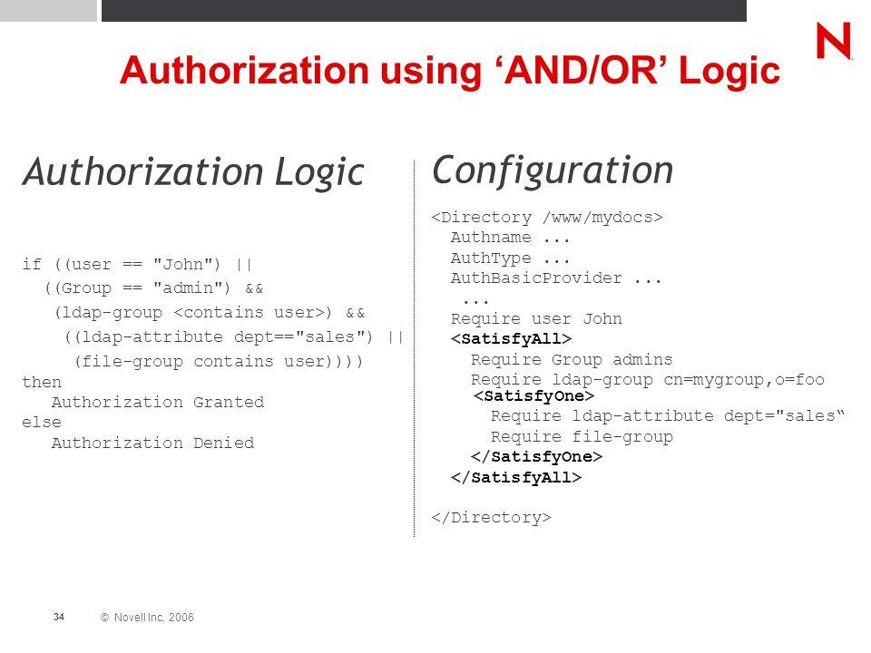 © Novell Inc, 2006 34 Authorization using 'AND/OR' Logic Authorization Logic if ((user ==