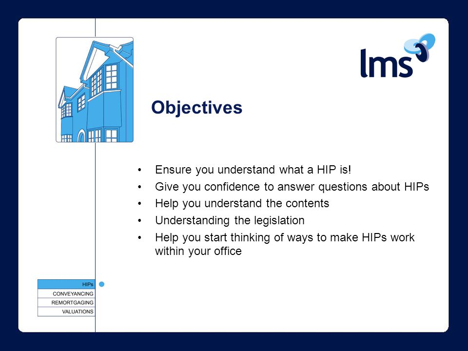 Objectives Ensure you understand what a HIP is.
