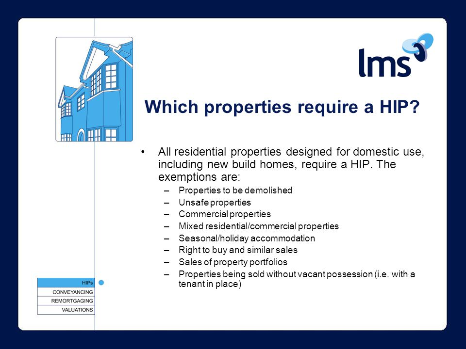 All residential properties designed for domestic use, including new build homes, require a HIP.