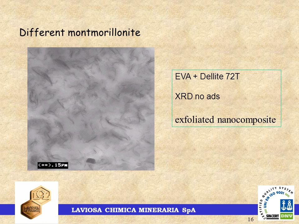 LAVIOSA CHIMICA MINERARIA SpA 16 Different montmorillonite EVA + Dellite 72T XRD no ads exfoliated nanocomposite