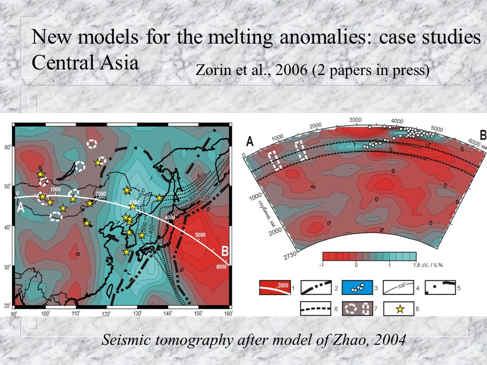 New models for the melting anomalies: case studies Central Asia Zorin et al., 2006 (2 papers in press) Seismic tomography after model of Zhao, 2004