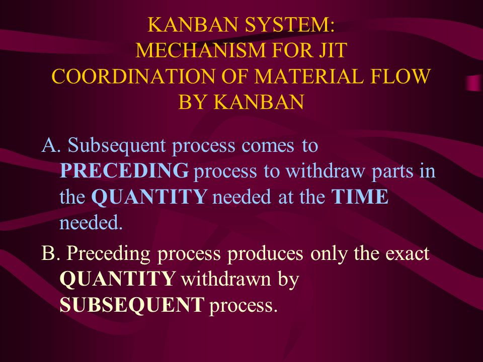 KANBAN SYSTEM: MECHANISM FOR JIT COORDINATION OF MATERIAL FLOW BY KANBAN A.