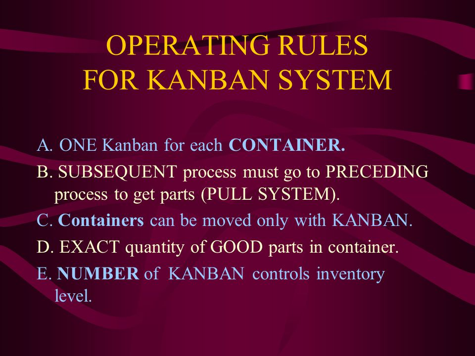 OPERATING RULES FOR KANBAN SYSTEM A. ONE Kanban for each CONTAINER.