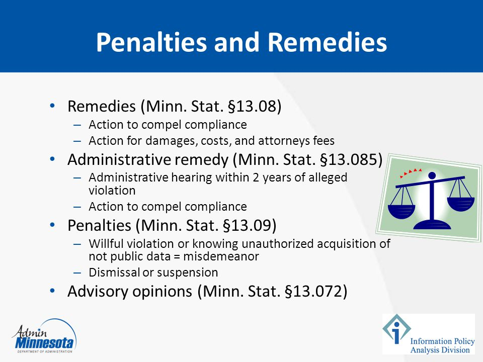 Penalties and Remedies Remedies (Minn. Stat.