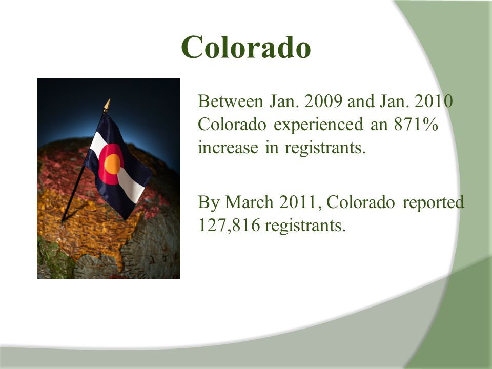 Colorado Between Jan. 2009 and Jan. 2010 Colorado experienced an 871% increase in registrants.