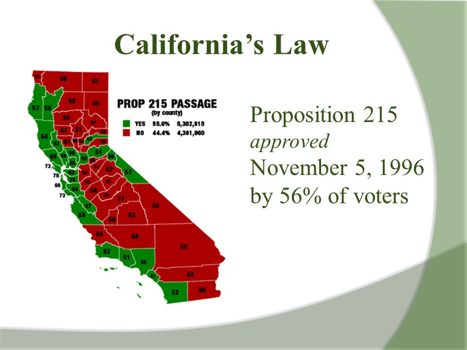 California's Law Proposition 215 approved November 5, 1996 by 56% of voters