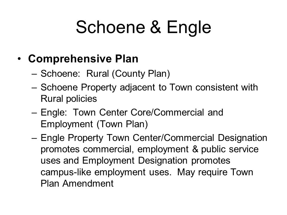 McDonough Assemblage Utilities –For HS and/or MS: public utilities required –Site soils will not support (either) school use –Sanitary Sewer connection 800-1100 feet to east; Water connection 1000-2200 feet to east –Town approval required for public utilities –Town and County Plan amendments required for extension of central utilities into Rural Area