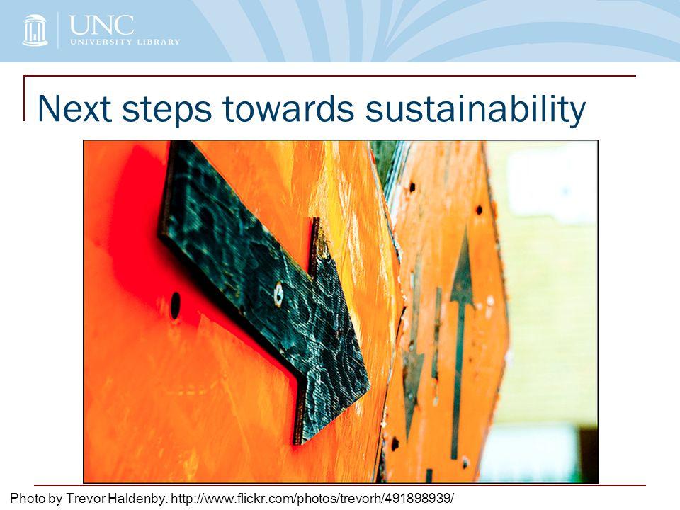Next steps towards sustainability Photo by Trevor Haldenby. http://www.flickr.com/photos/trevorh/491898939/