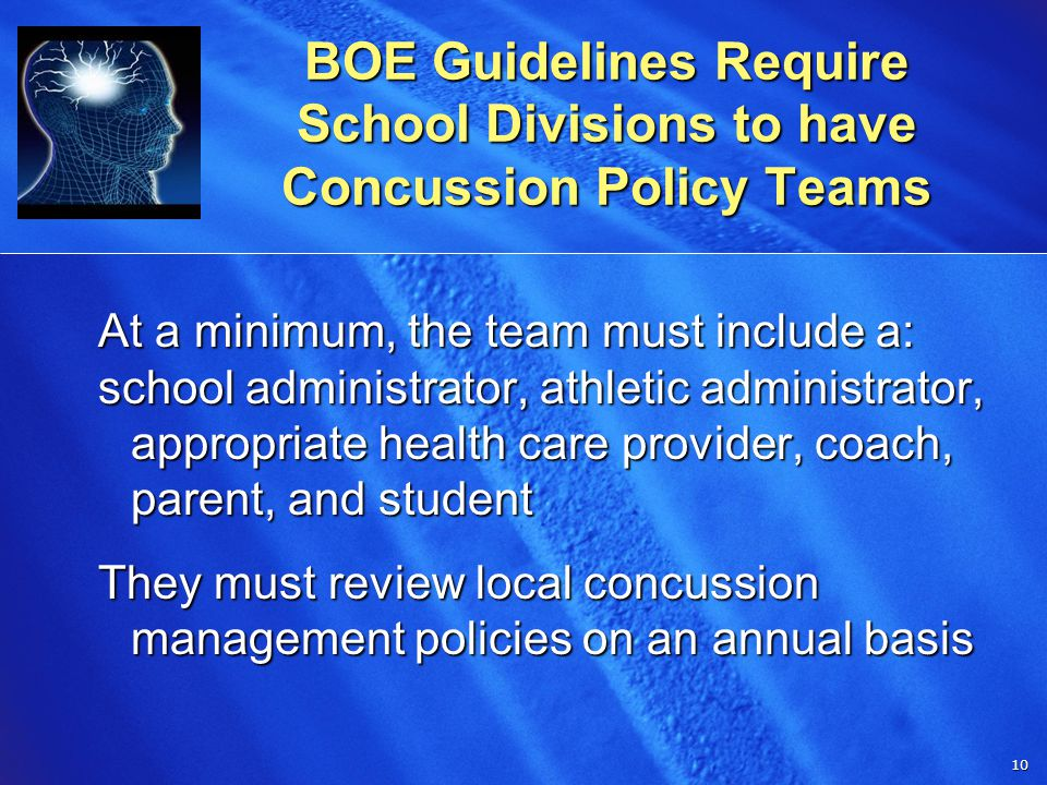 10 10 BOE Guidelines Require School Divisions to have Concussion Policy Teams At a minimum, the team must include a: school administrator, athletic administrator, appropriate health care provider, coach, parent, and student They must review local concussion management policies on an annual basis